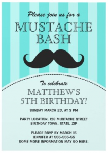 Fun aqua blue mustache bash birthday party invitation