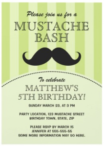 Fun green mustache bash birthday party invitation