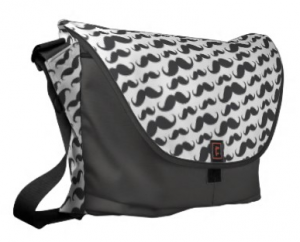 Custom messenger bag with a pattern of dark gray moustaches
