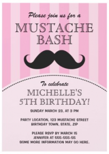 Fun pink mustache bash birthday party invitation for girls