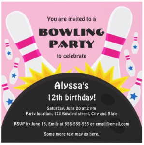 Cute bowling party invite for kids with bowling pins and ball