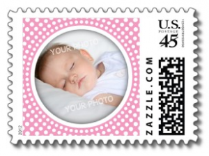 New baby girl announcement photo frame postage stamps with pink and white dot pattern