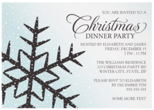Pale aqua and brown snowflake Christmas dinner party invitation -