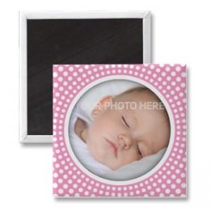 Pink radial dots photo frame fridge magnet