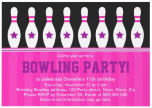 Fun, girly, hot pink bowling birthday party invitation with pins and stars