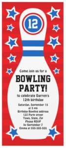 Red blue and white bowling pin with stars birthday party invitation