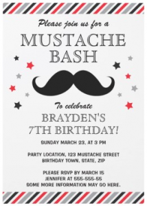 Retro gray red stripes and stars mustache birthday party invitations for boys