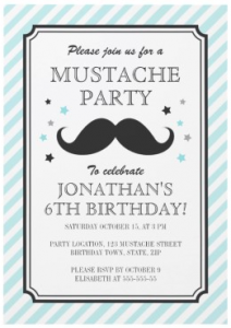 Pale aqua birthday invitation with mustache and stars