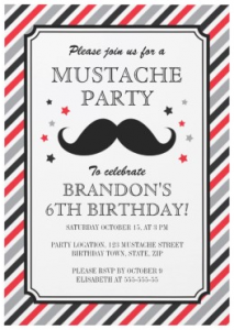 Retro stripes mustache party invitation