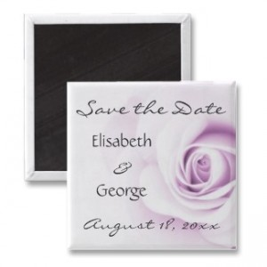 Romantic Save the Date magnets with beautiful purple rose