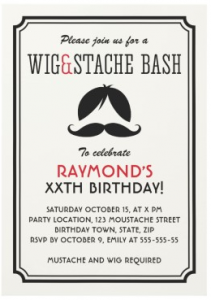 Wig and mustache party invitations with retro stripes
