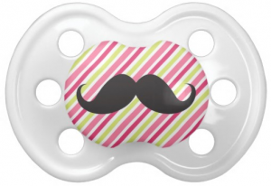 Black mustache on pink and lime green stripes pacifier