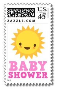 Cute kawaii cartoon sun baby shower postage stamp for girl showers