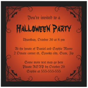 Dark, moody Halloween party invitation with ornate corners and bats -
