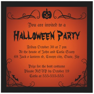 Adult Halloween Party Invitations 1000 images about halloween invite ideas on pinterest halloween invitations halloween party invitations and invitations Elegant Halloween Party Invitation With Jack O Lantern And Ornate Border And Corners