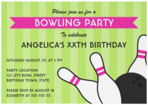Party invitations party invitesannouncements birthday party ideas bowling birthday party invitations on green and hot pink bowling birthday party invitation for girls filmwisefo