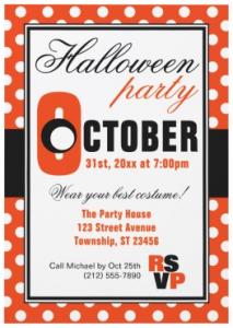 Orange polka dot pattern modern Halloween party invitation