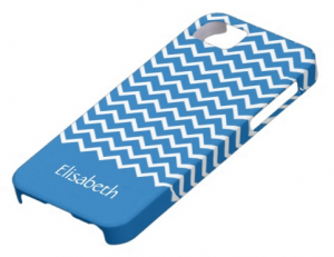 Personalized denim blue chevron pattern iPhone 5 case