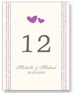 Elegant purple hearts wedding table number cards