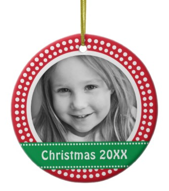 Red and green Christmas photo ornament with dot border