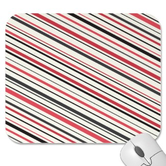 Retro red, gray and black stripes mousepad