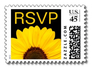 Stylish wedding RSVP postage stamp with yellow sunflower