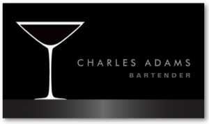 Stylish bar or bartender business card with martini cocktail drink