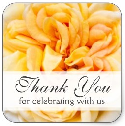 Beautiful yellow rose wedding favor thank you stickers or envelope seals