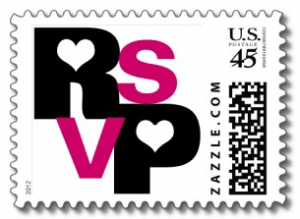 Black & Fuchsia typography with hearts RSVP Postage Stamps