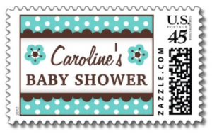 Brown and aqua blue personalized baby shower postage stamps with floral flowers