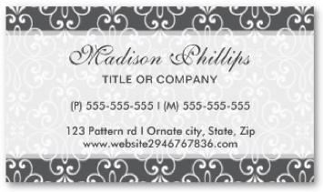 Chic and fashionable, stylish ornate damask personal profile card or business card template