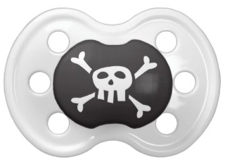 Cute and funny pirate skull and crossbones custom pacifier for little baby boys