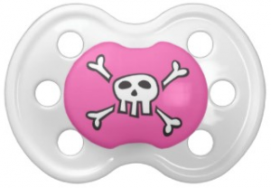 Cute and funny pirate skull and crossbones pink pacifier for baby girls