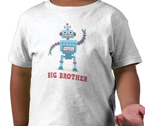 Cute and fun retro robot cartoon android big brother t-shirt