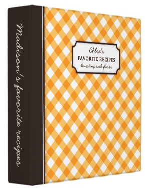 Orange and brown personalized gingham checkered checkers pattern recipe binder