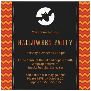 Spooky bat and moon modern trendy chevron zigzag pattern Halloween party invitation