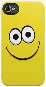 Yellow happy smiley face cartoon funny iPhone 4 case