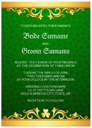 Irish Saint patrick's day wedding invitation with golden borders and green clover background