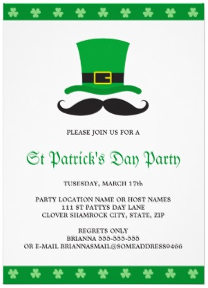 Mustache and leprechaun hat trendy St Paddys day invite