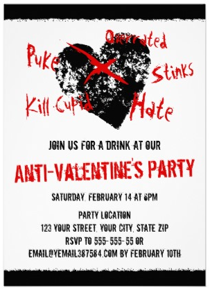 Love sticks Anti Valentines day party invitation with black distressed heart and red text