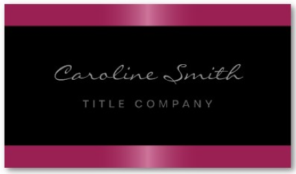 Sylish and trendy black business card with fuchsia pink satin borders