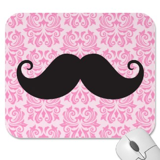 Hipster moustache on pink damask custom mousemat