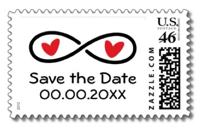 Wedding save the date stamp with infinity symbol symbolizing eternal love