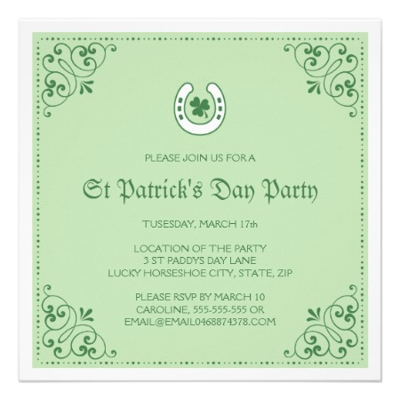 Elegant St Patrick's day party invitation with green clover and lucky horseshoe