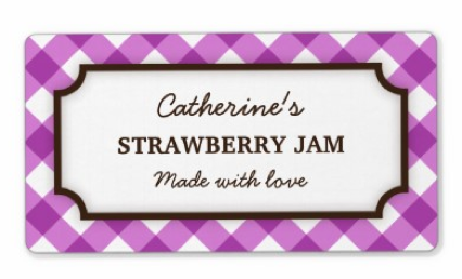 Trendy violet gingham pattern, custom labels for jams, cookies and treats
