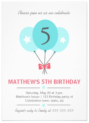 Trendy birthday invitation for kids featuring aqua blue balloons and customizable birthday age