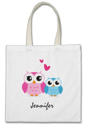 Big sister - little brother or mother - son owls, personalized name tote bag