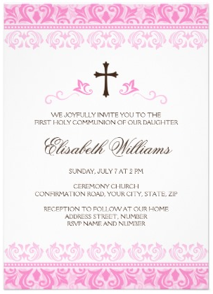 First holy communion confirmation invitation for girls, brown cross and beautiful pink lace damask border