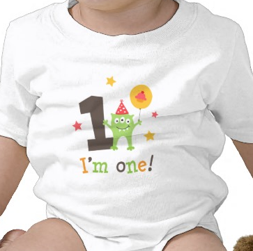 I am one birthday shirt with cute monster cartoon illustration