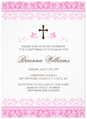 Cute christening or baptism invite with pink lace damask borders